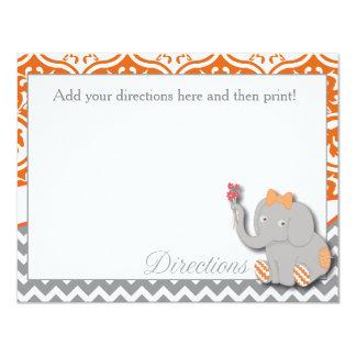 Orange Elephant Direction Card