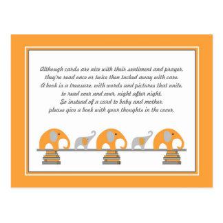 Orange Elephant Insert for Book Baby Shower Postcard