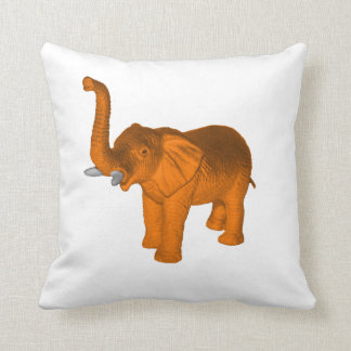 Orange Elephant Throw Pillow