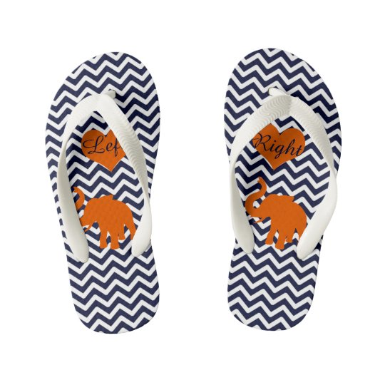 84024f304f46 Orange Elephant With Blue Chevron Left Right Kid s Flip Flops ...