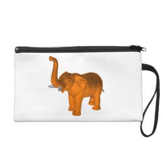 Orange Elephant Wristlet Purse