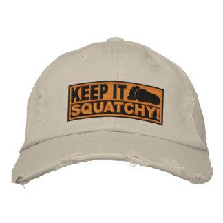 Orange *EMBROIDERED* Keep It Squatchy! - Bobo's Baseball Cap