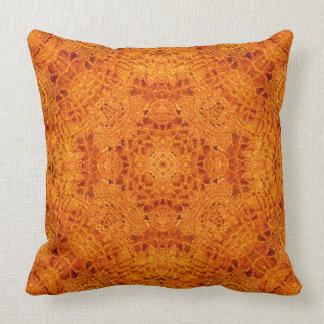 Orange Embroidered Tiles Pillow