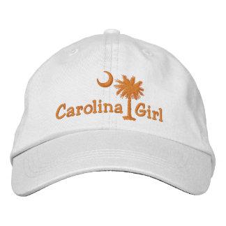Orange Embroidred Carolina Girl Palmetto Hat Baseball Cap