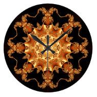 Orange enamel fibula round clock