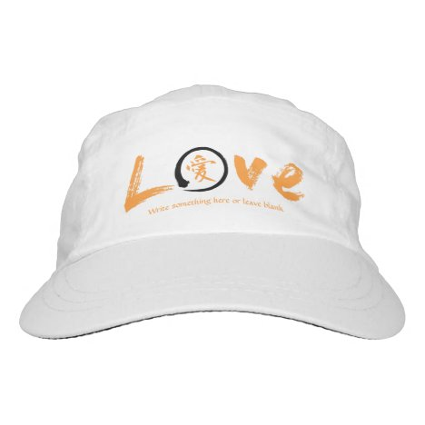 Orange enso | Japanese kanji symbol for love Headsweats Hat