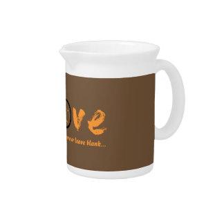 Orange enso zen circle, Japanese symbol for love Drink Pitcher