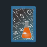 """Orange Erlenmeyer (Conical) Flask Chemistry Tri-fold Wallet<br><div class=""""desc"""">This chemistry-themed wallet features a cartoon drawing of an Erlenmeyer,  or Conical,  Flask containing a mysterious orange chemical.  The black and blue background features a part of the Periodic Table of the Elements,  including symbol,  name,  and atomic number!</div>"""