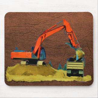 Orange Excavator and Yellow Dump-Truck Mouse Pad