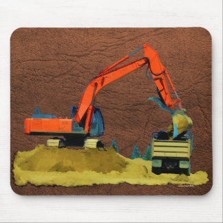 Orange Excavator and Yellow Dump-Truck Mouse Pad