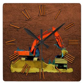 Orange Excavator and Yellow Dump-Truck Wall Clock