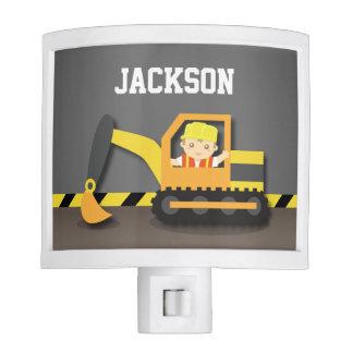 Orange Excavator Construction Boys Room Decor Night Light