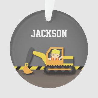 Orange Excavator Construction Boys Room Decor Ornament
