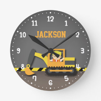 Orange Excavator Construction Boys Room Decor Round Clock