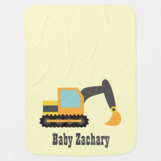 Orange Excavator, Construction Vehicle, Baby Boy Swaddle Blanket