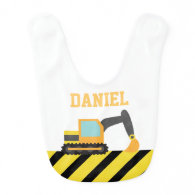 Orange Excavator, Construction Vehicle, For Babies Baby Bib