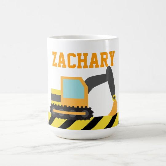 Orange Excavator, Construction Vehicle, For kids Coffee Mug