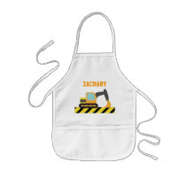 Orange Excavator, Construction Vehicle, For kids Kids' Apron