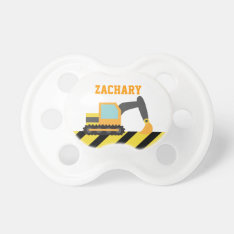 Orange Excavator, Construction Vehicle, For Kids Pacifier at Zazzle