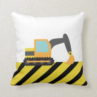 Orange Excavator, Construction Vehicle, For kids Throw Pillow