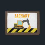 """Orange Excavator, Construction Vehicle, For kids Tri-fold Wallet<br><div class=""""desc"""">A cute orange excavator with black tracks digging away. The little ones who love construction vehicles and toys are going to dig this design! Personalise easily with boy&#39;s name in orange text. Makes a wonderful gift for birthdays!</div>"""