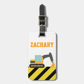 Orange Excavator, Construction Vehicles, for Kids Bag Tag
