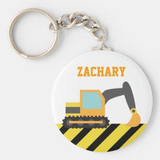 Orange Excavator, Construction Vehicles, for Kids Basic Round Button Keychain