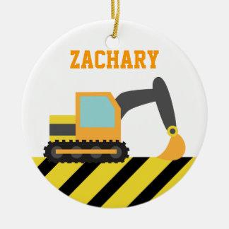 Orange Excavator, Construction Vehicles, for Kids Ceramic Ornament