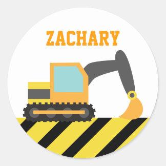 Orange Excavator, Construction Vehicles, for Kids Classic Round Sticker