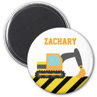 Orange Excavator, Construction Vehicles, for Kids Magnets