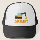 """Orange Excavator, Construction Vehicles, for Kids Trucker Hat<br><div class=""""desc"""">An orange excavator with black tracks that is digging away. An attractive design for kids who love construction vehicles and toys. Perfect as mini gifts for boys.</div>"""
