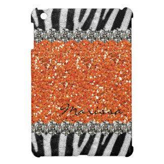 Orange Exotic Zebra Stripes Personalized iPad Mini Covers