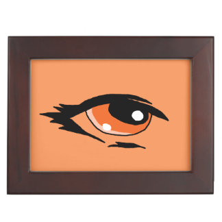 Orange eye design matching jewelry set memory box
