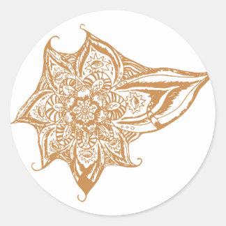 Orange Eye Mandala Classic Round Sticker