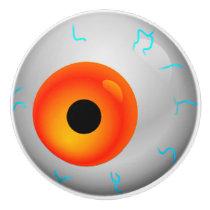 Orange Eyeball Zombie Drawer Knob