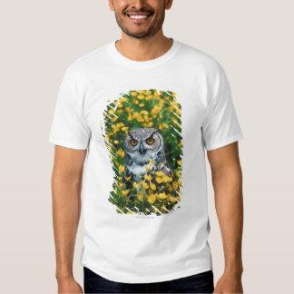 Orange Eyed Owl in Meadow of Flowers T-Shirt
