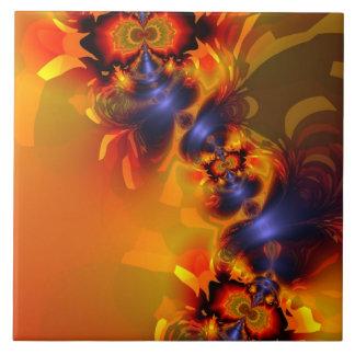 Orange Eyes Aglow – Gold & Violet Delight Ceramic Tile