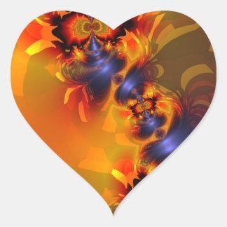 Orange Eyes Aglow – Gold & Violet Delight Heart Sticker
