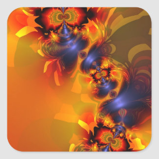 Orange Eyes Aglow – Gold & Violet Delight Square Sticker