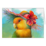 Orange-faced Lovebird with Hibiscus Hat Realistic Painting Greeting Card
