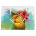 Orange-faced Lovebird with Hibiscus Hat Realistic Painting Gift Bag