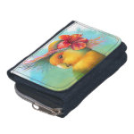 Orange-faced Lovebird with Hibiscus Hat Realistic Painting Wallet
