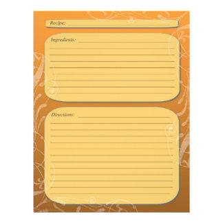 "Orange fade classy swirl recipe page 8.5"" x 11"" flyer"