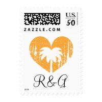 Orange faded heart palm tree sunset wedding stamps