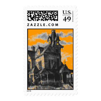 Orange Fall Haunted House Halloween Postage Stamp
