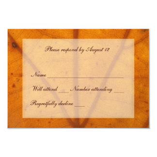 Orange Fall Leaf rsvp with envelope Card