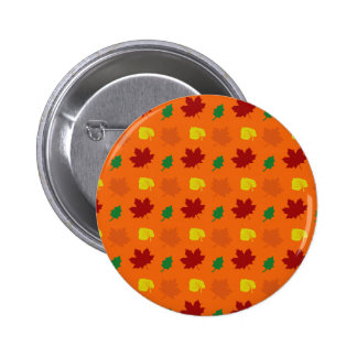 Orange fall leaves 2 inch round button