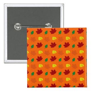 Orange fall leaves 2 inch square button
