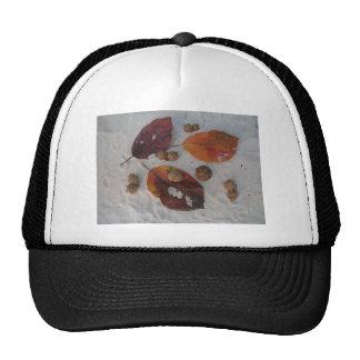 Orange fall leaves and acorns hats