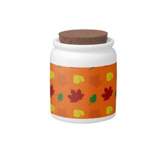 Orange fall leaves candy dish